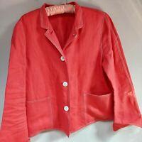 Linda Allard Ellen Tracy Blazer Jacket 100% Linen Button Front Red Size 8