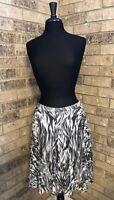 TALBOTS Gray-Ivory-Black Zebra Print Pleated Skirt Women's Size 10 Petite NWT