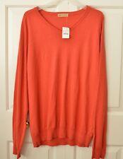 NWT J CREW Men's XL Cotton Cashmere Blend Sweater V-Neck Deep Orange