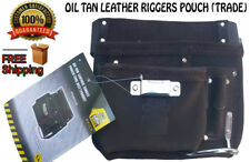 NEW Tan Leather Tool Belt Double Pouch TRADE QUALITY 4 POCKET