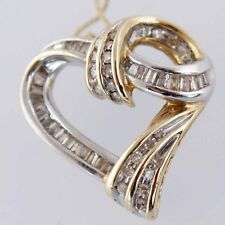 """New 14ct Solid Yellow and White Gold Heart 18"""" .75 ct Diamond Heart Necklace"""