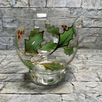 Lenox Holly Holiday Handpainted Glassware Hurricane Votive Candle Holder