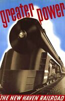 """Vintage Illustrated Travel Poster CANVAS PRINT New Haven Rail Train 8""""X 10"""""""
