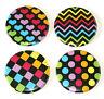 Pop Colour Fridge Magnets Set 55mm 4pc Retro 80s Rainbow Colourful Patterns
