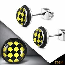 7mm Stainless Steel Yellow Grid Checker Circle Stud Earrings with O Rings pair