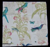 "FABRIC SAMPLE SWATCH Meadow Cream 100% Cotton Birds Nature $120 17""x17"" Quilt"