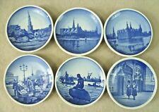 Vintage Ceramics-6 Royal Copenhagen Miniature 8.25cm Blue & White Plates-Denmark