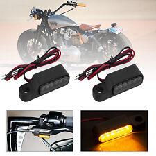 Motorcycle Handlebar Bar End LED Turn Signal Indicators Light Black For Harley