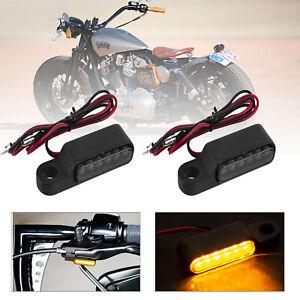 Motorcycle Handlebar Bar End 6 LED Turn Signal Indicators Light Black For Harley