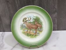 "Buffalo Pottery Deer Stag Doe Green 9.25"" Plate"