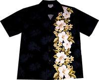Hawaii Hemd Made in Hawaii Größe S-2XL 100% Baumwolle Hawaiihemd Blüten schwarz