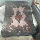 Antique Americana Rose Hooked Rug with Charcoal Grey and Nut Brown Accents
