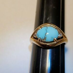 Stamped new 18 Kt Gold genuine Persian Turquoise/ diamond Ring size 8, 4.7 Grams