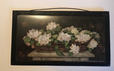 """WHITE FLORAL basket country wood wall art decor Flowers sign 4.5x8"""""""