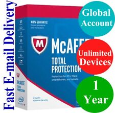 McAfee Total Protection UNLIMITED DEVICE / 1 YEAR (Unique Global Key Code) 2018