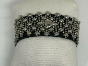 Sergio Gutierrez SG Liquid Metal Black Leather Bracelet Magnetic Closure