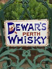 Original Dewar's Perth Whisky Enamel Sign. Bar Man Cave