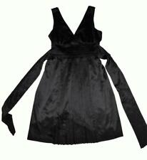 ET VOUS BLACK SATIN COCKTAIL DRESS 16 pleated crossover bust 3+ITEMS= FREE POST