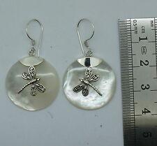 D Artesanal Madre de Perla Pendientes Colgantes de libélula en plata esterlina 925