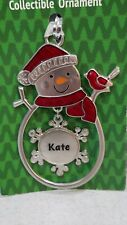 """Christmas Snowman  Personalized """"Kate"""" Collectable Silver Ornament Ganz New"""