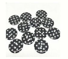 """Lot of 10 BLACK WHITE DOTS 2-hole White Resin Buttons 11/16"""" (18mm) Craft (1159)"""