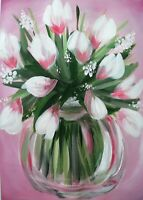 Original Acrylic Painting Of Pink Magnolias In Vase Flowers Still Life A3
