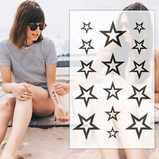 TEMPORARY TATTOO STARS - SMALL HOLLOW BLACK  FINGER  EAR NECK MENS WOMENS KIDS