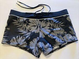 Speedo Men's Nylon Spandex Swimsuit Square Leg Trunks Tropical Flowers Size 34