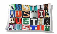 Personalized Pillowcase featuring the name AUSTIN in photos of sign letters