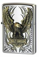 Zippo Lighter Harley Davidson Japan Limited Silver Antique Nickel Brass Eagle