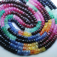 "Natural Multi Ruby Emerald Sapphire Faceted Rondelle Gemstone Beads 7"" 2.5mm 3mm"