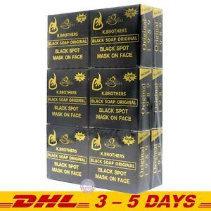 K.Brothers Black Soap Original Reduce acne, Freckles, Dullness – 50g pack of 12
