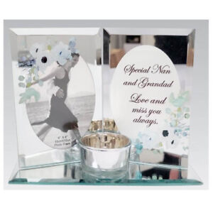 MEMORIAL PHOTO FRAME AND CANDLE HOLDER REMEMBERANCE WORDING SPECIAL KEEPSAKE