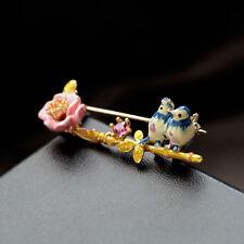 Broche Email Fleur Rose Perroquet Bleu Feuille Original Soirée Mariage L3