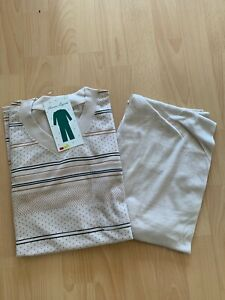 TOP Herren Schlafanzug Pyjama Gr. M bis 3XL beige gemustert NEU
