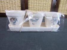 "New 4.5"" Ceramic Relax Swim Float Rae Dunn Planting Pots Set w/Tray"