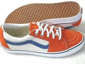 Vans Mens Sk8-Low Leather Orange White Blue Skate shoes Size 9.5 NWT VN0A4UUK2S2