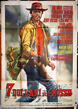 manifesto 4F film 7 DOLLARI SUL ROSSO Anthony Steffen 1966 western