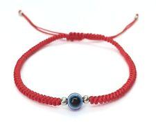Lucky Red String Knot Unisex Adjustable Shamballa Bracelet - Blue Evil Eye