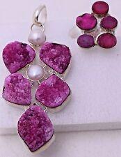 Druzy Colorful Pink Pearl Rough Crystal Geode Quartz Gemstone Pendant Ring Set