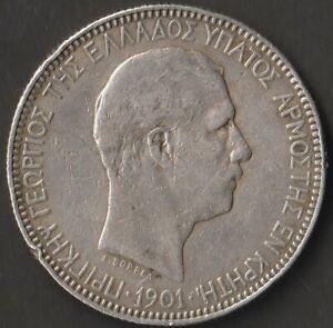 5 Drachmas 1901 Silver Crete State Greece (001)