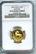 CHINA  1994  UNICORN  1/4  OZ GOLD   NGC PF  69  ULTRA CAMEO