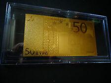 24 KARAT GOLD 50 EURO € ,European Union MONEY 2002*BILL COMES IN ACRYLIC HOLDER