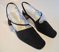 ANN MARINO SHOES slingbacks heels size 6 M BLACK FABRIC #1431
