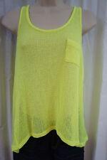 Aqua Top Sz XS Citrus Yellow Shirt Front Pocket Casual Knit Tank