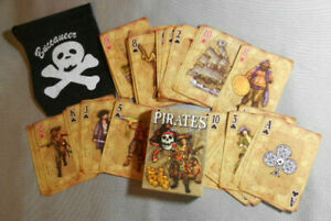 Pirates Deck Ahoy Matey 54 Illistrated Playing Cards with FREE Buccaneer Bag NIB