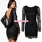 New Sexy Women Lace Backless Clubwear Evening Party Bodycon Mini Dress Thrifty