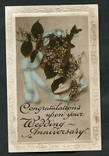 C1920s Card: Flowers/Ribbon: Congratulations Upon Your Wedding Anniversary