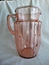 Anchor Hocking Pink Depression Glass  Pillar Optic 80 Oz Pitcher