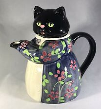 Vintage The Edith Collection Black Cat Teapot - Hand Painted Otagiri Japan-Rare